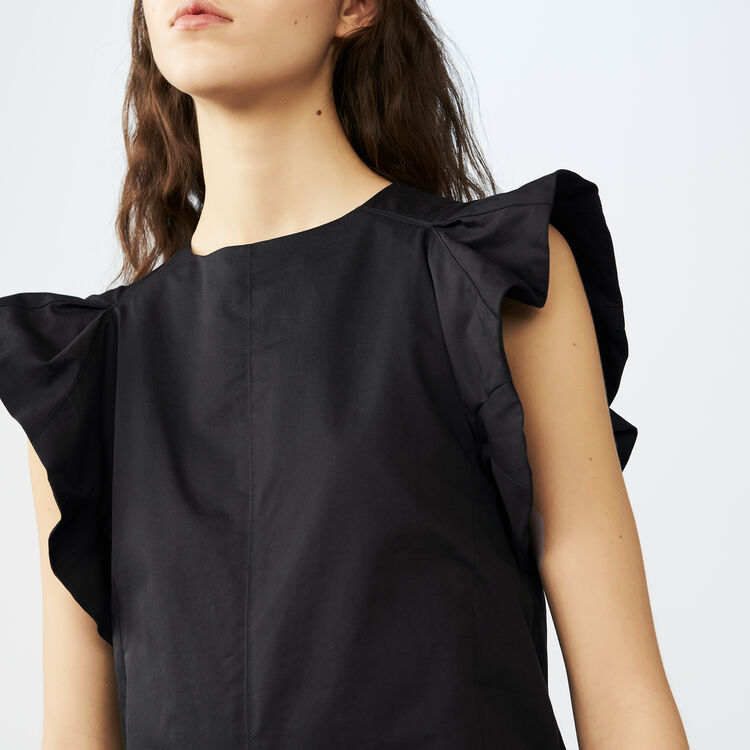 Ruffled cotton canvas top : Tops color Black 210