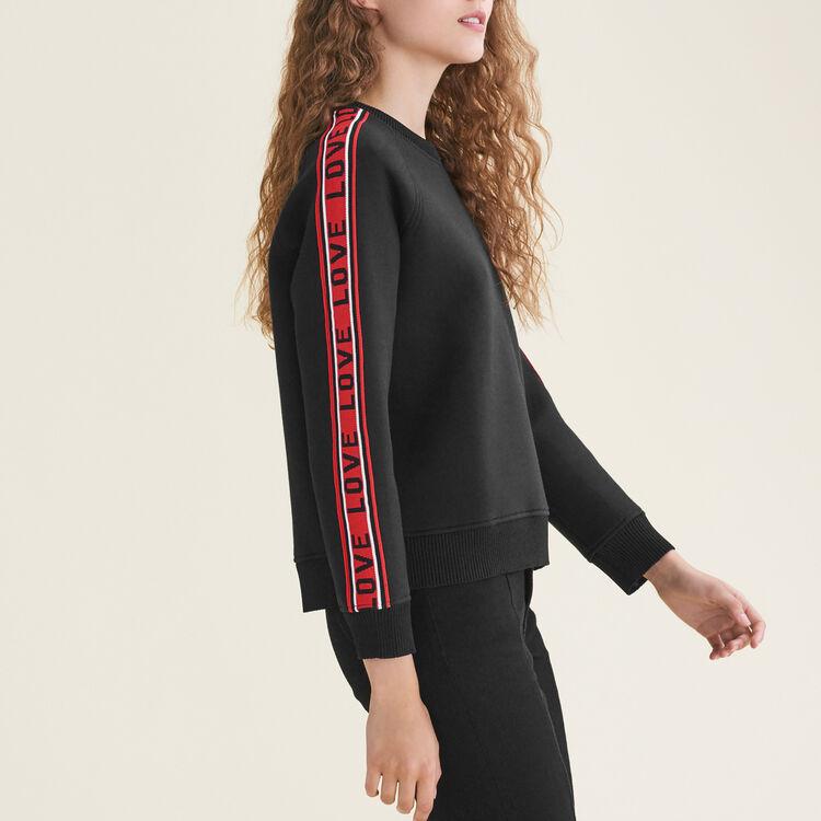 Neoprene sweatshirt with bands : Knitwear color Black 210