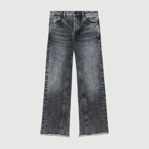 Wide leg distressed jeans : Le denim color Grey