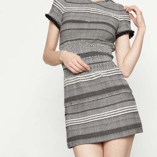 Two-tone knit dress with smocking : Dresses color Jacquard