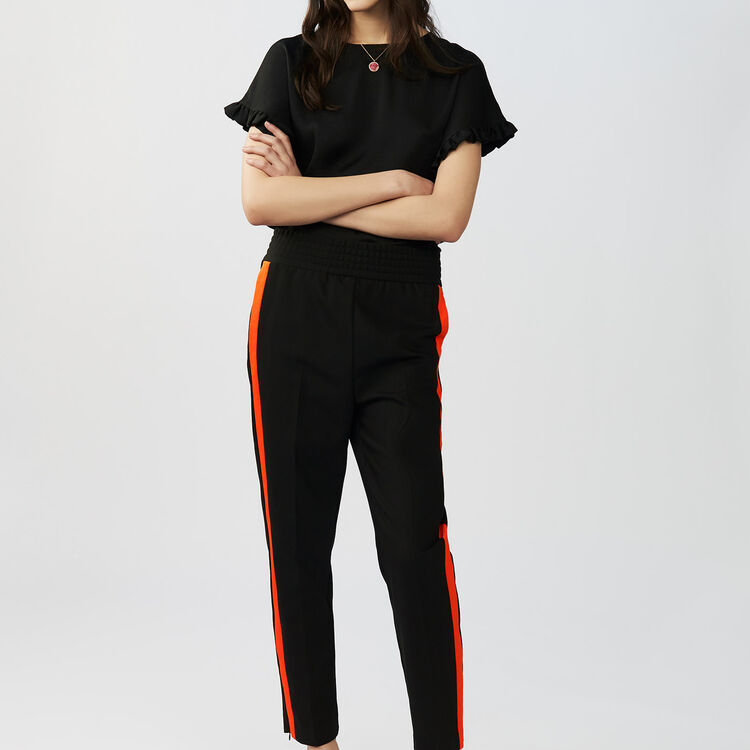 Straight cut pants with stripes : Trousers color Black 210