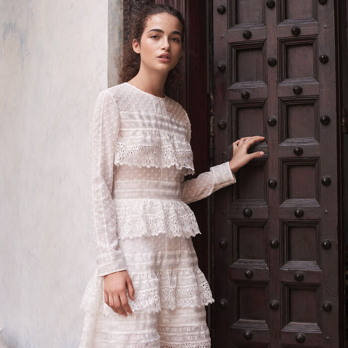 Embroidered dress with frills -  - MAJE