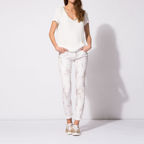 Slim jeans in marble-print cotton : Trousers & Jeans color Print