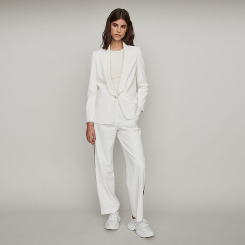 Straight-cut buttoned shawl lapel jacket : Blazers color Ecru