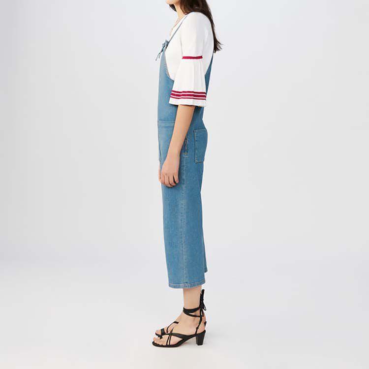 Denim overalls with thin tie-straps : Jeans color Denim