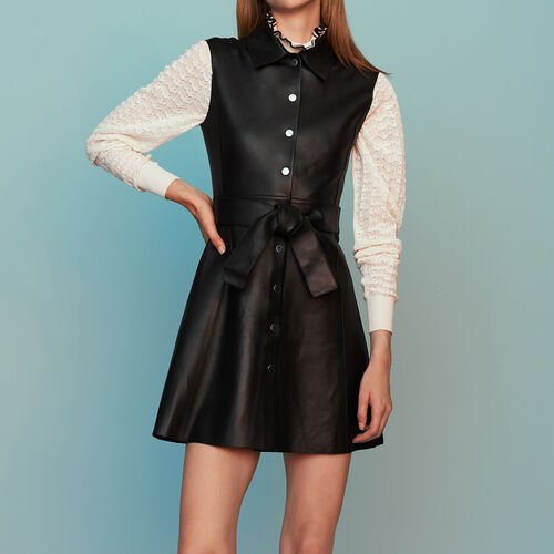Sleeveless leather shirt dress : Dresses color Black 210