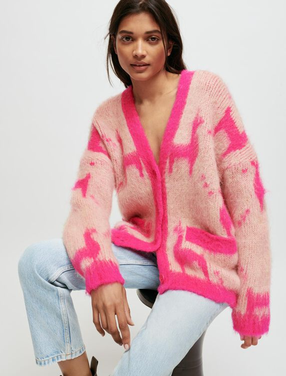 Mohair cardigan with llama pattern - Pullovers & Cardigans - MAJE