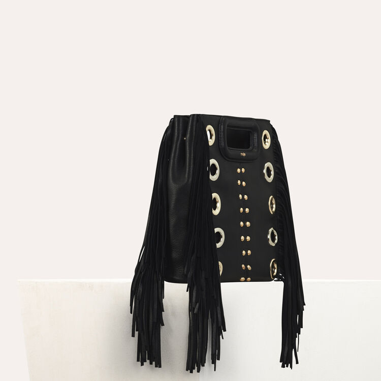 M bag in leather with studs and eyelets : Office girl color Black 210