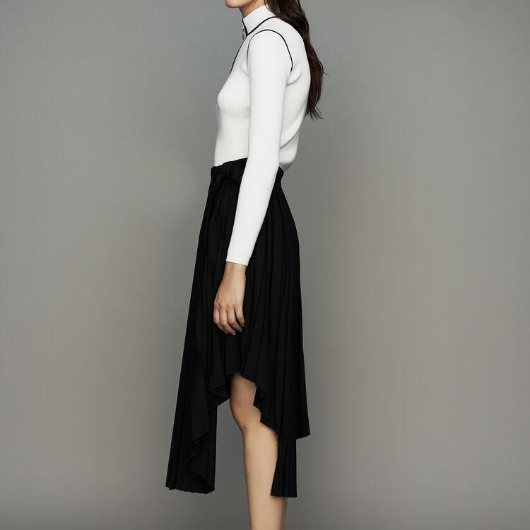 Asymmetric pleated skirt : Skirts & Shorts color Black 210