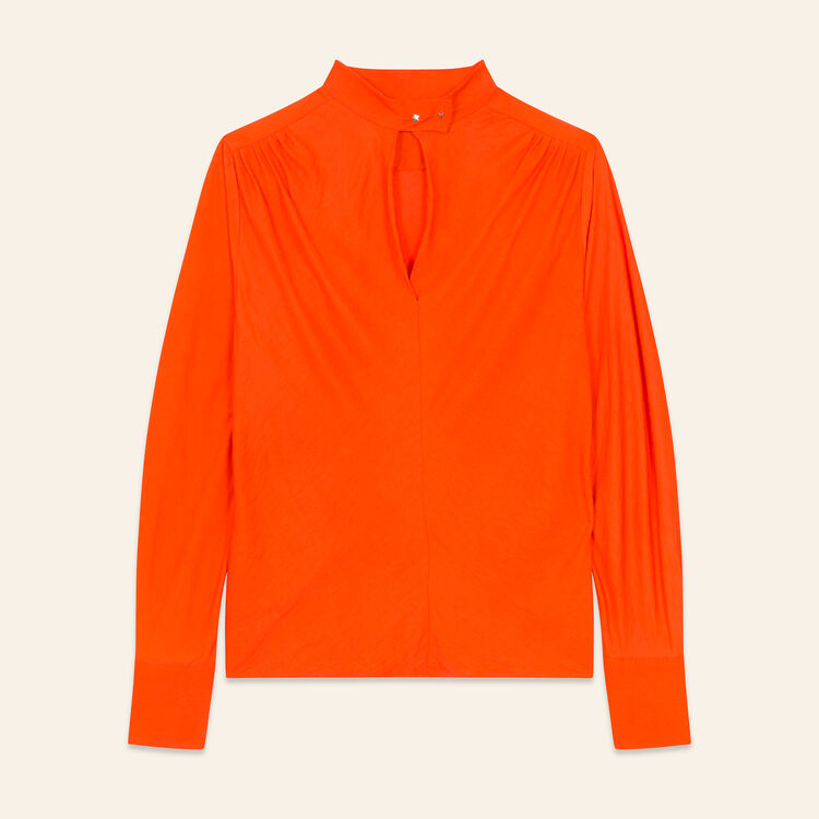 Flowing top with stand-up collar : Tops color Orange