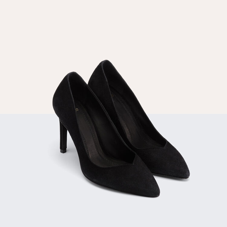 High-heeled suede court shoes : Accessoires color Black 210