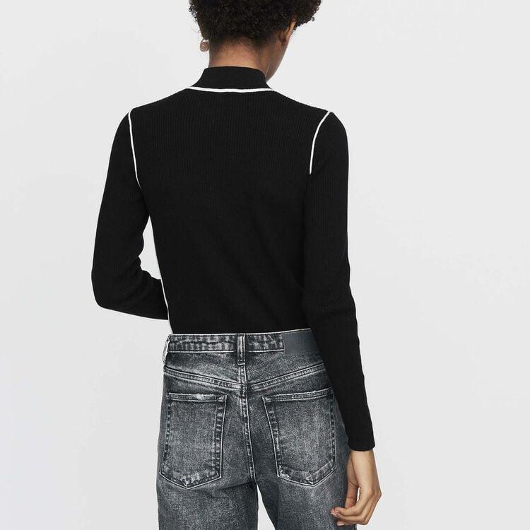 Trucker-collared sweater in fine knit : Knitwear color Black 210