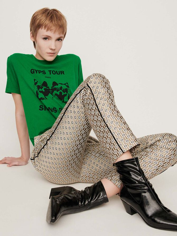 Lurex jacquard pants - Présoldes-Pantalons-BE - MAJE