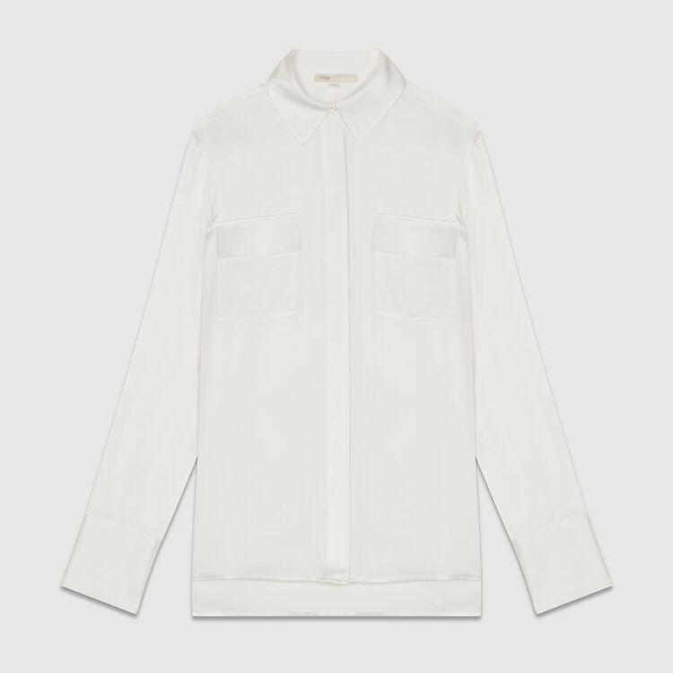 Draped silk blouse : Shirts color White