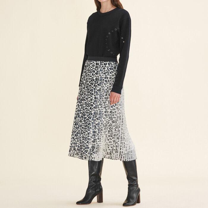 Leopard-print pleated skirt -  - MAJE