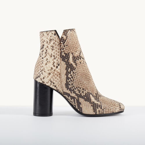 Snakeskin-effect leather boots : Accessories color PRINTED
