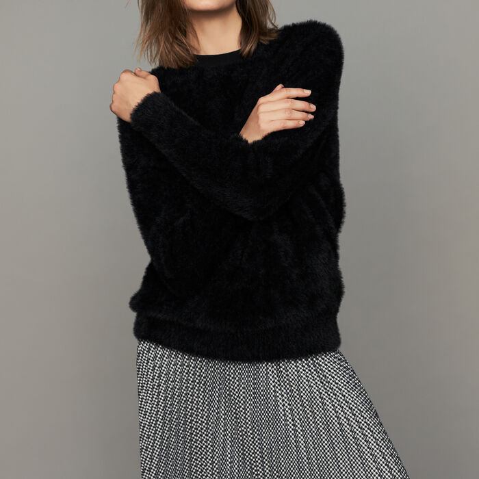 Faux-fur sweater : Knitwear color Black 210