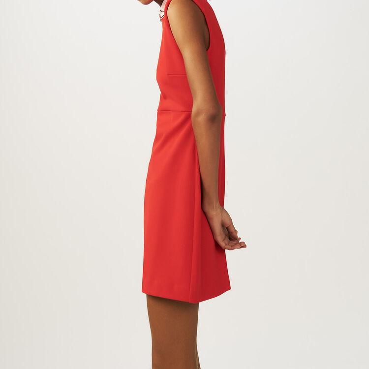 Lace pleated dress : Dresses color ROUGE