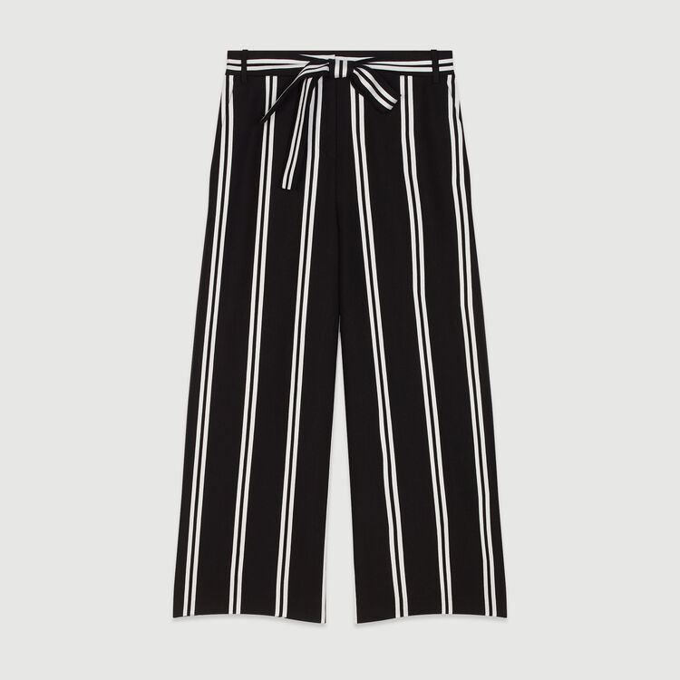 Wide 7/8 striped pants : Trousers & Jeans color Stripe