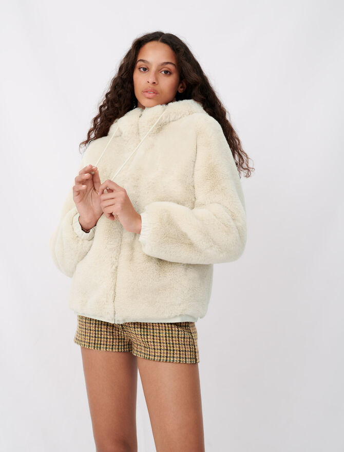 Jacket with hood in fur-effect - Coats & Jackets - MAJE