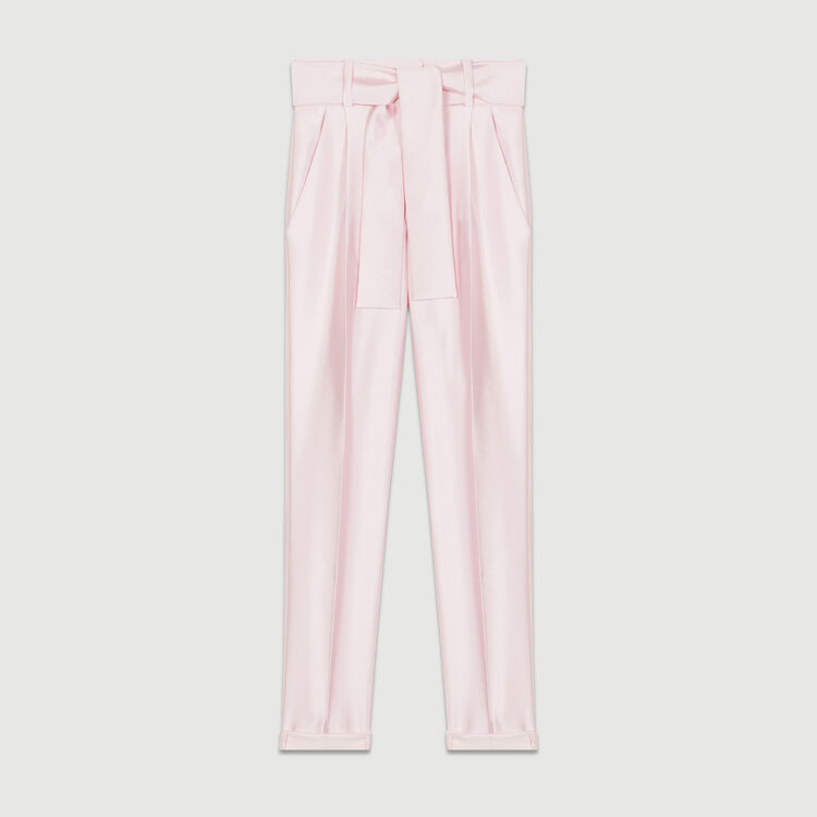 Pleated pants with belt : Trousers color Pink