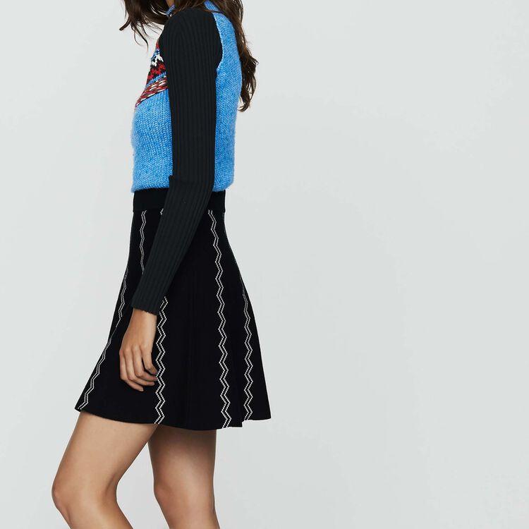 Skater jacquard knit skirt : New Collection color Black 210