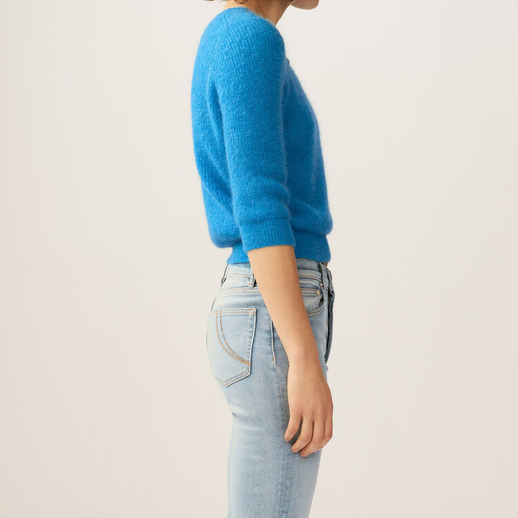Cropped mohair sweater : Knitwear color Blue