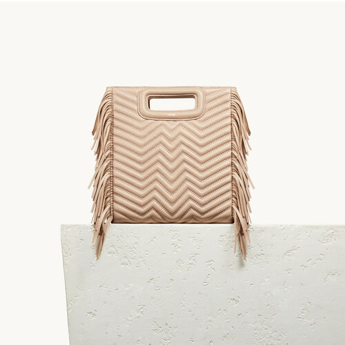 Quilted leather M bag : Bags color Nude
