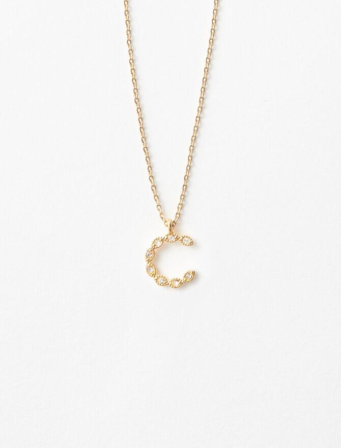 Rhinestone C necklace - Alphabet necklaces - MAJE