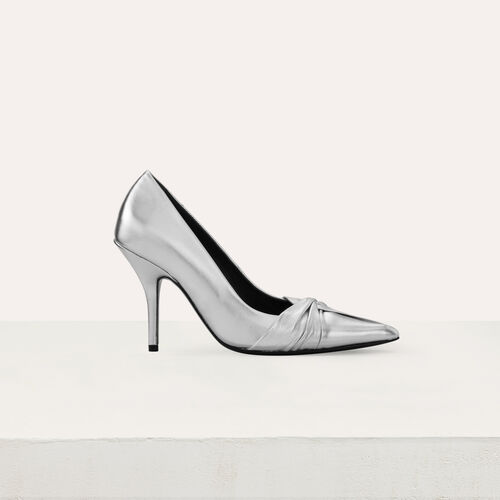 Draped pumps in silver leather : Slipper color Silver