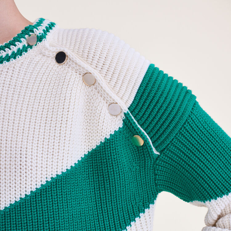 Tricolour jumper with press studs : Sweaters & Cardigans color GREEN