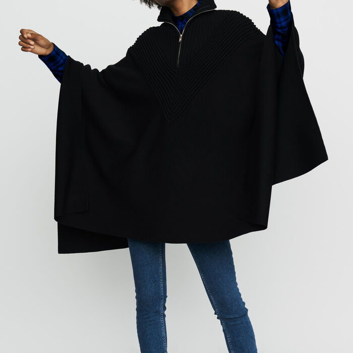 Knit poncho with trucker collar : New Collection color Black 210