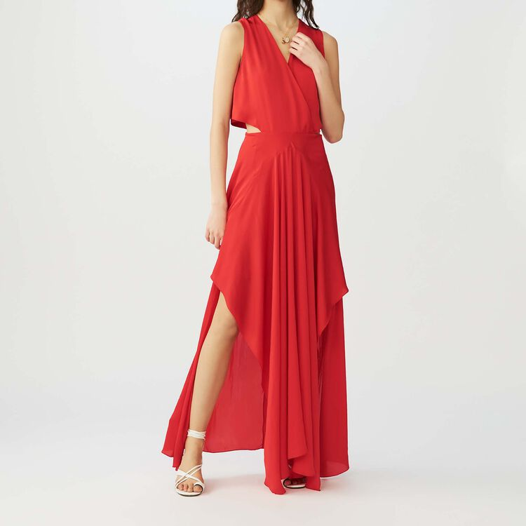 Maxi dress with flounce detail : Dresses color Red