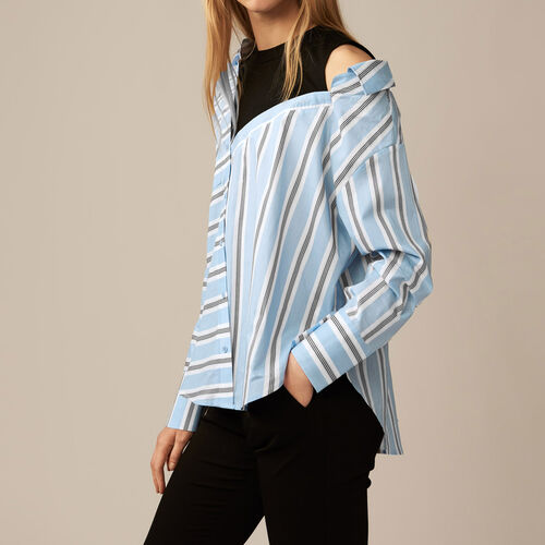 Unstructured striped shirt : Blue color Blue Sky