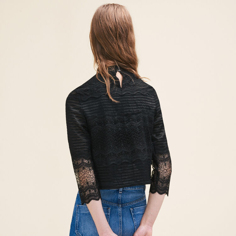 Cropped lace top : Tops color Black 210