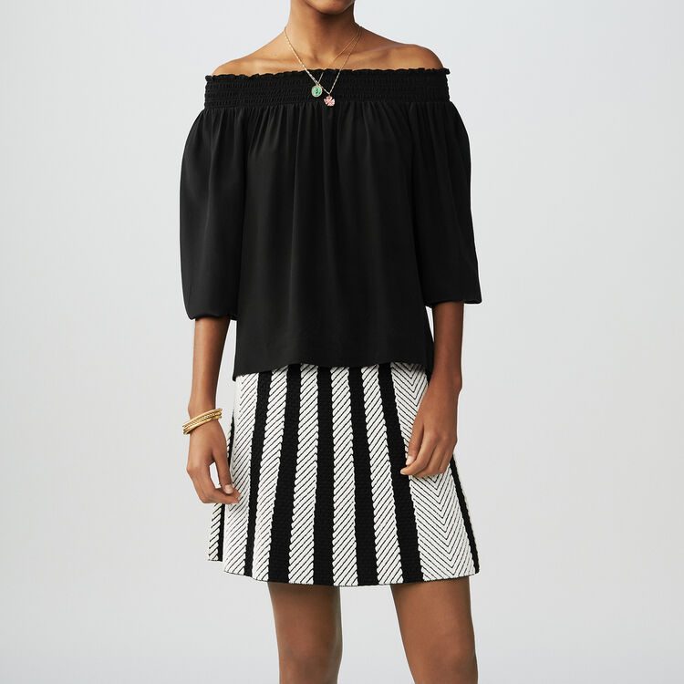 Silk cold-shoulder top : Tops color Black 210