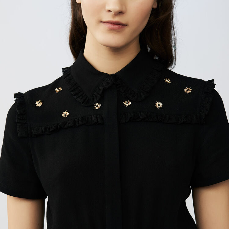 Short dress with bee embroidery : Dresses color Black 210
