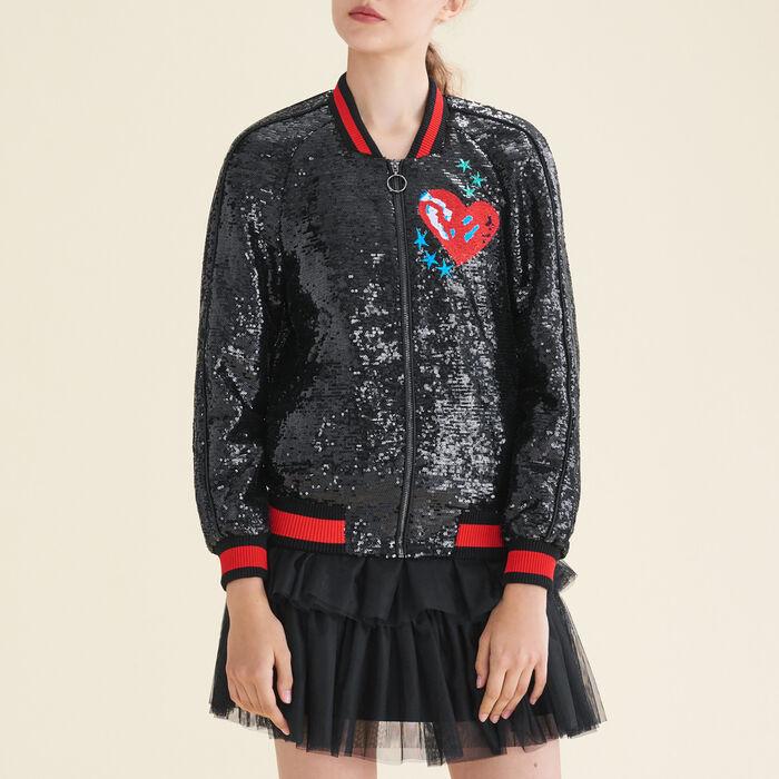 Sequin varsity jacket : Sweaters & Cardigans color Black 210