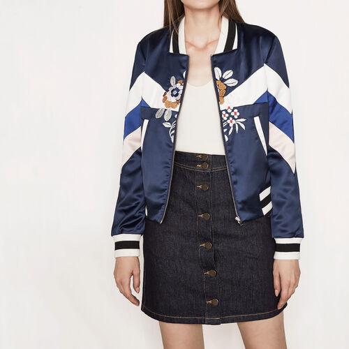 Varsity-style embroidered satin jacket : Blazers & Jackets color Navy