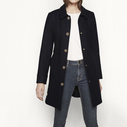 Coat with gold press-studs : Coats color Night