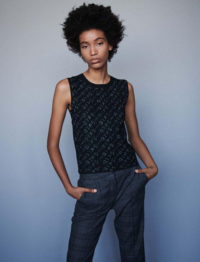 Lurex jacquard sleeveless sweater - pull - MAJE