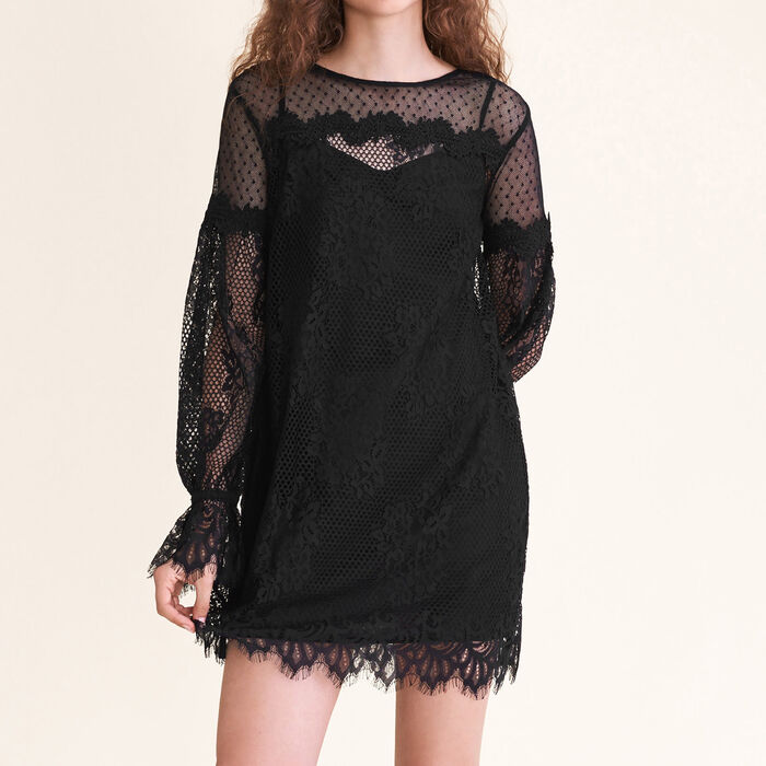 Short lace and dotted Swiss dress : Dresses color Black 210