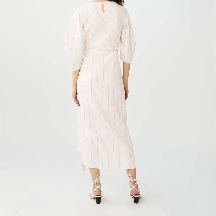Long striped dress : Dresses color Ecru