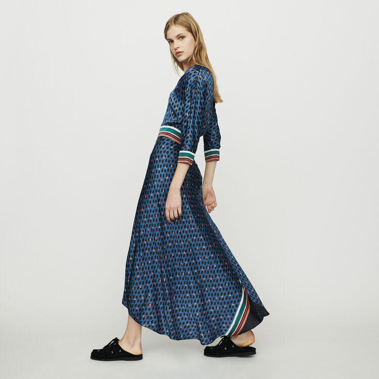 Long dress with monogram print : Dresses color Printed