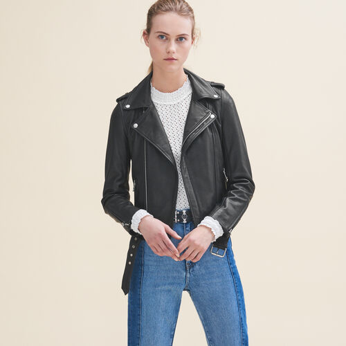 Leather jacket with belt - Jackets - MAJE