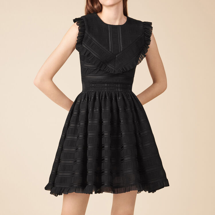 Mid-length dress with delicate flounces : See all color Black 210