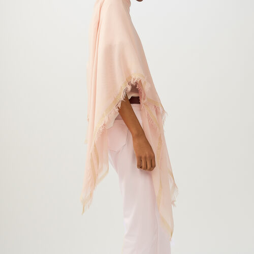 Lurex striped poncho : Shawls & Ponchos color Pink