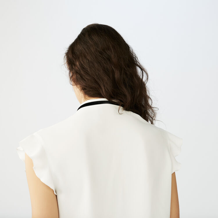 Embroidered crepe top : Tops color Ecru