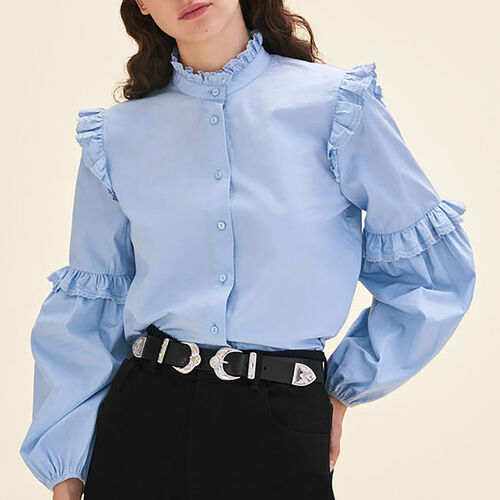 Poplin shirt with frills : Tops color Blue