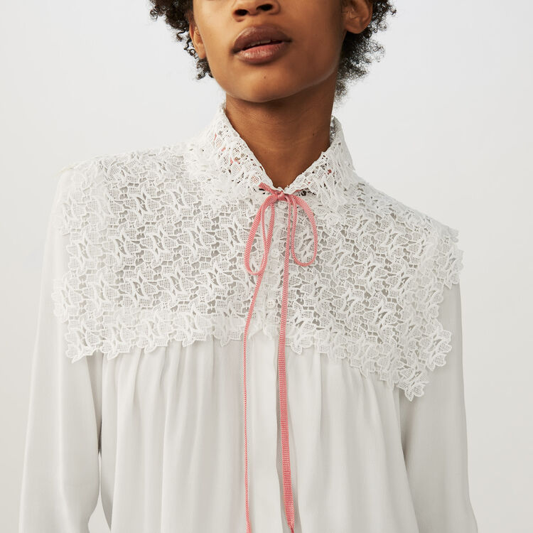 Crepe and lace blouse : Shirts color Ecru